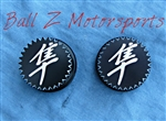 Black Anodized Engraved Kanji 24mm Knob Fork Caps w/Star Cut Edges