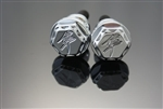 Custom Chrome Engraved 3D Kanji Hex Cargo Bolts w/Ball Cut Edges