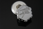 Chrome 3D Hex Kanji Engraved Exhaust Hanger Peg Plug w/Ball Cut Edges