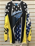 Fly Racing Black/White/Blue/Yellow Kinetic Mesh Offroad Motorcross MX Riding Jersey SZ XL