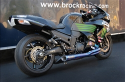 "Brock's Performance TiWinder Blue 18"" Muffler Race Baffle Kawasaki ZX-14 (06-12) Full Exhaust System"