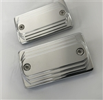 Hayabusa Chrome Smooth 3D Stepped Brake & Clutch Reservoir Caps