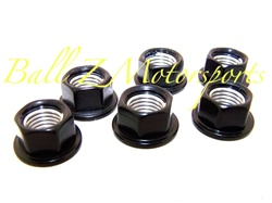 6-Black Anodized Rear Sprocket Nuts
