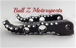 Custom Black Anodized & Silver Ball Cut Suzuki Tribal Rear Foot Pegs