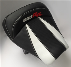 Custom Honda CBR 600RR Front Seat Black & White Carbon Fiber w/Red & Silver Embroidering