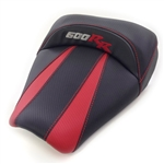 Custom Honda CBR 600RR Front Seat Black & Red Carbon Fiber w/Red & Silver Embroidering