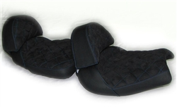 Hayabusa Custom Shaped Front & Rear Seats w/Backrests Black Suede w/Blue Cross Stitching