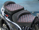 Hayabusa Custom Shaped Black Suede Front & Rear Seats w/Red Cross Stitching