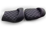 Hayabusa Custom Shaped Black Front & Rear Seats w/White Cross Stitching
