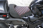 Hayabusa Custom Shaped Black Suede Front Seat w/Red Cross Stitching