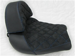 Hayabusa Custom Shaped Black Suede Front Seat w/Blue Cross Stitching