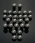 27 Piece Custom Billet Black/Silver Kanji  Hex Fairing Bolt Kit with Ball Cut Edges!