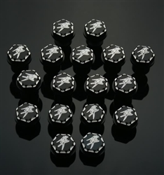17 Piece Custom Billet Black/Silver Kanji Engraved  Hex Fairing Bolt Kit with Ball Cut Edges!