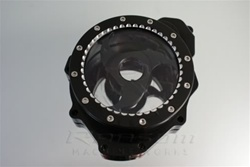 Custom Billet Black/Silver Contrast See Through Stator Cover