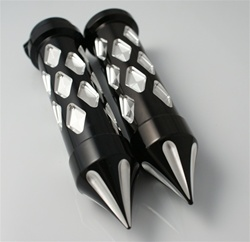 Black Anodized Silver Diamond Cut Grips with Grooved Spike Bar Ends Universal Fitment