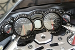 Custom T-6 Billet Aluminum Black/Silver Ball Cut Gauge Bezel