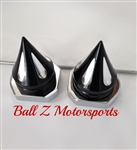 08-15 Hayabusa Black/Silver Grooved Spike Rear Axle Caps with Chrome Adjuster Blocks