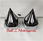 99-07 Hayabusa Black/Silver Grooved Spike Rear Axle Caps with Chrome Adjuster Blocks