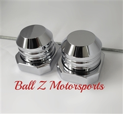 Chrome Smooth Rear Axle Caps with Adjuster Blocks