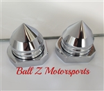 Chrome Bullet Spike Rear Axle Caps with Adjuster Blocks