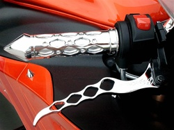 Chrome Diamond Cut Out Grips with Grooved Bar Ends Universal Fitment