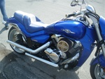 Suzuki M109R Custom Shaped and Covered Blue LED Loglow Lighted Front & Rear Seat