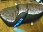 Suzuki M109R Custom Shaped and Covered ICE Blue LED Loglow Lighted Gator Front & Rear Seat Exchange