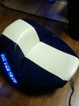 Suzuki M109R Custom  Shaped and Covered Blue LED Loglow Lighted Racing Stripe Seat