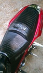 ZX-14 Ninja Custom Shaped Loglow Seats, Alligator Covered, Embroidered With Built In Red LED Lights Black Seat