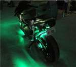 14 Piece 278 LED Complete Motorcycle Green Lighting Kit With Remote