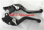 Short Black Adjustable PAZZO Brake & Clutch Lever Set w/Black Adjusters