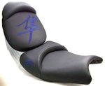 "Hayabusa Black with Blue Embroidered Kanji Logos ""New Image"" Custom Driver and Passenger Seats"