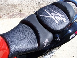 Hayabusa Front & Rear Seats Black Ostrich Fiber w/Chrome Embroidering
