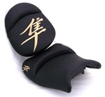Custom Hayabusa Black/Tan Embroidered Front & Rear Seats