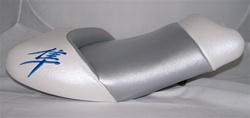"""New Image"" Hayabusa Custom Shaped Tutone White/Silver Front Seat w/Blue Embroidering"