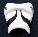 White with 2 Black Embroidered Kanji Logos and Black Swooshes