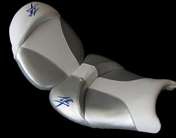 Custom Hayabusa Front & Rear Seats White & Silver w/Blue Embroidering