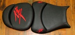 "Black with Red Embroidered & Stitching Kanji Logos ""New Image"" Custom Driver and Passenger Seats"