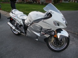 Custom Hayabusa Front & Rear Seats White & Silver w/Silver Embroidering