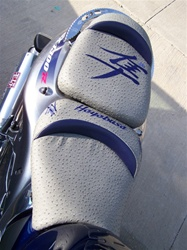 """New Image"" Custom Hayabusa Grey Ostrich & Dark Blue Embroidered Front/Rear Seats"