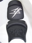 Custom Hayabusa Black Front & Rear Seats w/Ostrich Flame Applique