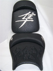 Custom Hayabusa Front & Rear Seats Black Ostrich Fiber w/Chrome Embroidering