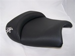 Custom Shaped Black Carbon Fiber Hayabusa Front Seat w/Chrome Embroidering