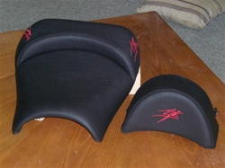 """New Image"" Custom Hayabusa Front Seat w/Red Embroidering & Zippered Removable Hump Pad"