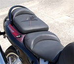 """New Image"" Custom Hayabusa Front & Rear Seats Black on Black Embroidering"