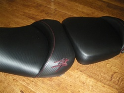 Custom Hayabusa Front & Rear Seats Black Carbon Fiber w/Dark Red Embroidering