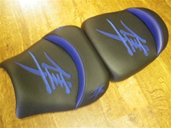 Custom Hayabusa Front & Rear Seats Black w/Blue Embroidering