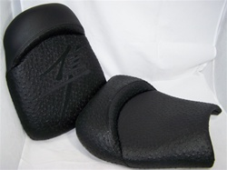 """New Image"" Custom Hayabusa Black Ostrich/Black Embroidered Front & Rear Seats"