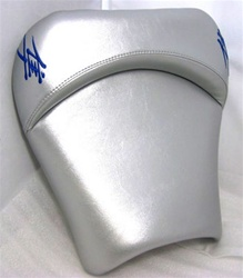 """New Image"" Hayabusa Silver Drag/Show Front Seat w/Blue Embroidering"