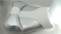 Custom Shaped/Covered Hayabusa White/Silver/Blue Driver Seat